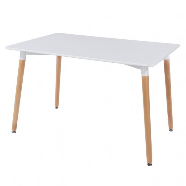 Large informal rectangular dining table in Arctic white to seat up to six